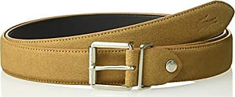 Lacoste Mens Classic Plate Buckle Belt, Camel, 41 IN