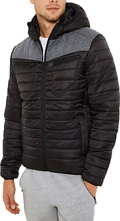 Threadbare Mens Padded Quilted Hooded Jacket Coat Lightweight Top RED Kite Puffa,Black XL