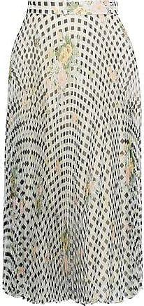4be26ef02 Christopher Kane Christopher Kane Woman Pleated Printed Silk-organza Skirt  Light Gray Size 40