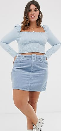 Urban Bliss baby cord mini skirt with self belt-Blue