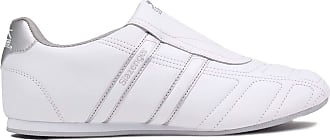 Slazenger Womens Ladies Warrior Trainers Slip On Leather Sports Shoes Footwear White/Silver UK 5.5 (38.5)