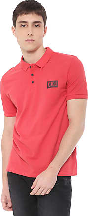 Calvin Klein Jeans Camisa Polo Calvin Klein Jeans Reta Estampa Logo Vermelha