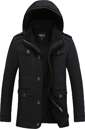 YiJee Mens Plus Size Outdoorwear Warm Long Jacket with Hood Black 6XL