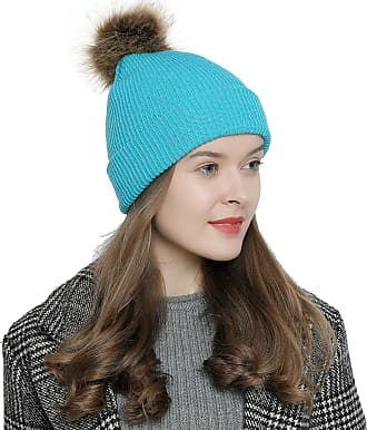 DonDon Women Winter Beanie with pom-pom - Turquoise with silver threads