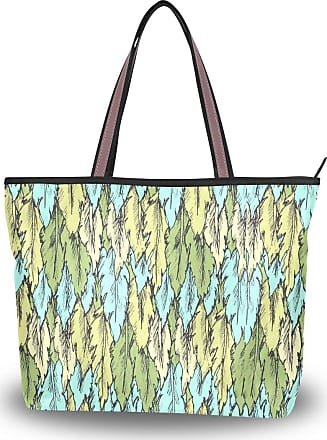 Lorona Women Green Feathers Pattern Canvas Shoulder Hand Bag Large Capacity Tote Bag