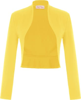 Belle Poque Laides Office Tops Elegant Evening Party Dress Gown Shrug Bolero Bright Yellow(788-16) XX-Large