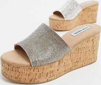 Steve Madden Desiree cork flatform sandals in rhinestone-Multi