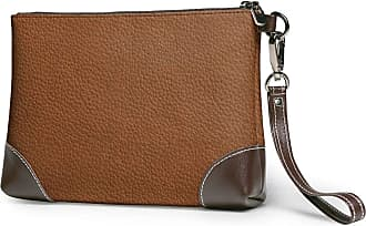 GLGFashion Womens Leather Wristlet Clutch Wallet Brown Storage Purse With Strap Zipper Pouch