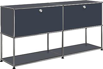 USM Sideboard mit 2 Klapptüren oben H74cm - anthrazitgrau RAL 7016/152x37x74cm