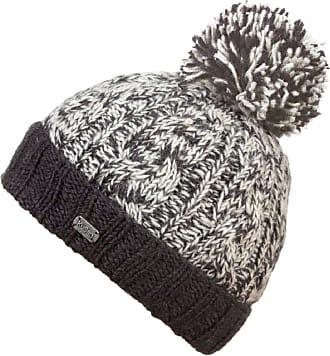 KuSan 100% Wool Chunky Knit Turn Up Bobble Beanie Hat (PK1728) (Charcoal)