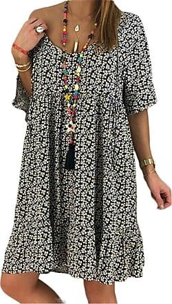 QIYUN.Z Summer 2020 Short Sleeve Dress Loose Women Plus Size Fashion Shirt Dresses Vestidos Dark Green 2XL