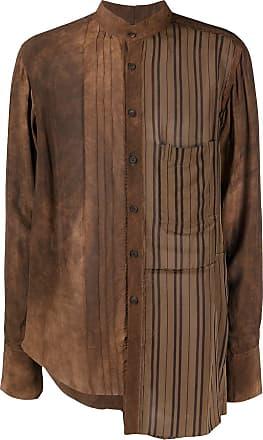 Ziggy Chen asymmetric buttoned shirt - Brown