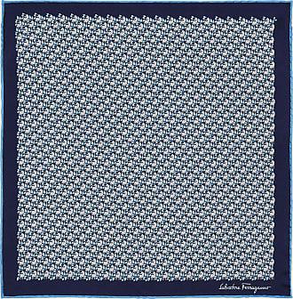 Salvatore Ferragamo Uomo Pochette in seta stampa Zebra Blu