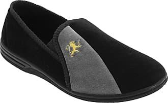 Zedzzz Mens Black and Grey Velour Twin Gusset Slipper - Aaron - Black/Grey - Black/Grey - size 7 UK A