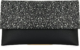 YYW Womens Glitter Leather Envelope Clutch Bag Sparkly Silver Gold Black Evening Bridal Prom Party Handbags Purse (Black)