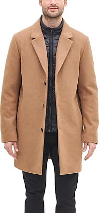 DKNY Mens Wool Blend Coat with Removable Quilted Bib, Camel, Medium