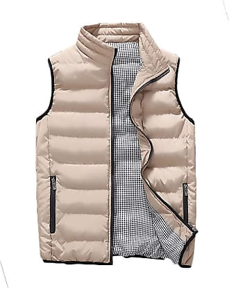 ZongSen Mens Stand Collar Quilted Gilet Stand Collar Vest Body Warmer Sleeveless Student Down Jacket Beige 5XL