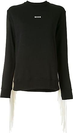 Msgm fringed-panel logo sweatshirt - Black