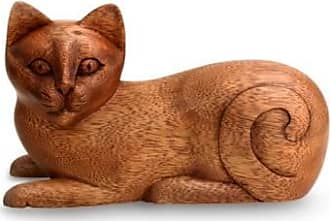 Novica Wood sculpture, Balinese Cat - Wood Kitty Sculpture from Indonesia