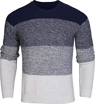 iClosam Mens Pullover Sweater Crew Neck Jumper Knit Sweater Long Sleeve Gradient Style Pullover Blue