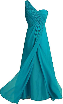 TiaoBug Women Ladies Chiffon One-Shoulder Wedding Bridesmaid Gown Long Evening Banquet Prom Party Dress Teal 20