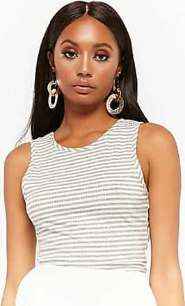 Forever 21 Forever 21 Striped Caged Back Crop Top Heather Grey/white