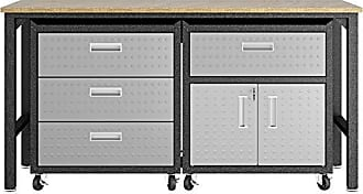 Manhattan Comfort 18GMC Fortress Mobile Space Saving Steel Garage Storage Cabinet and Work Task Table Set, Gray
