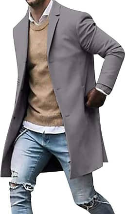 junkai Mens Casual Trench Coat Business Coats Solid Color Slim Fit Overcoat Single Breasted Medium Long Jackets Top Grey 3XL