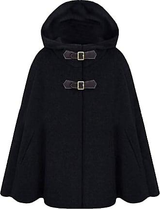 H&E Women Loose Outwear Cloak Hoodie Cape Vogue Thicken Peacoats Black M