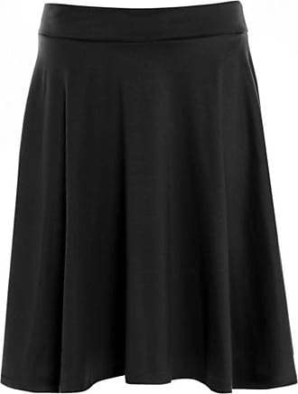 Purple Hanger Womens Plain Soft Stretch Ladies Elasticated Waistband Knee Length Full Flared Swing Skater Midi Skirt Plus Size Black Size 20