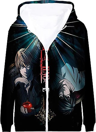 Haililais Death Note Pullover Coat Long Sleeve Printed Hooded Outerwear with Zipper Anime Casual 3D Parent-Child wear Unisex (Color : A07, Size : 160)