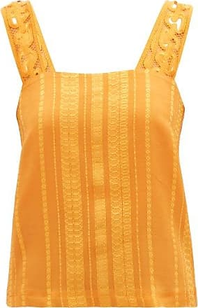 Zeus + Dione Lora Embroidered-strap Silk-blend Jacquard Blouse - Womens - Orange
