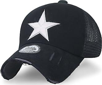 Ililily Star Embroidery tri-Tone Trucker Hat Adjustable Cotton Baseball Cap (Medium, Black Mesh)