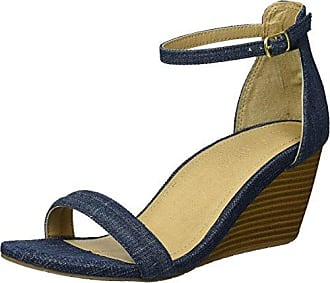 Kenneth Cole Reaction Womens 7 Cake Icing Wedge Sandal with Ankle Strap, Denim, 7.5 M US