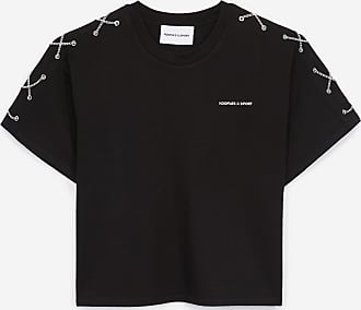 The Kooples Black cotton T-shirt with shoulder lacing - WOMEN