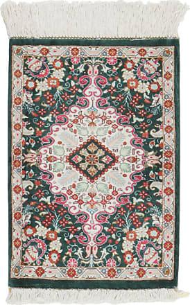 Nain Trading 39x29 Authentic Qum Silk Rug Dark Grey/Beige (Silk, Iran/Persia, Hand-Knotted)