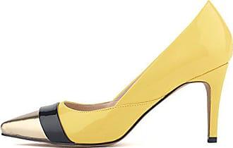 e7eebf2a13ef4b Aisun Damen Elegant Low Top Stiletto High Heels Spitz Metallic Zehen Pumps  Gelb-1 41
