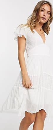 French Connection lace pleated hankerchief hem mini dress in summer white