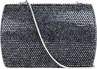 e3ef6b738562 Judith Leiber Black Metallic Swarovski Crystal Minaudiere Evening Bag W   Strap