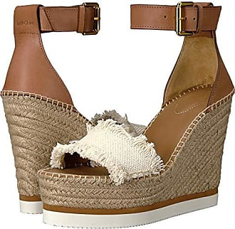See By Chloé SB28152 (Sole Tan Big Canvas/Vegetal Calf) Womens Wedge Shoes