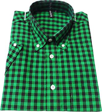 Relco Green/Black Gingham Short Sleeve Button Down Mod Retro Shirt S - XXL -(Medium Collar Size 15-15.5 Underarm to Underarm 21.5ins)