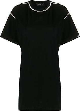 Frankie Morello Camiseta com recortes e aplicação de cristais - Preto