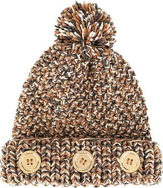 0711 pompom knit beanie - Brown