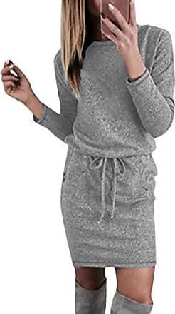 834a5b85fb717c Minetom Damen Herbst Winter Kleider Casual Langarm Pullover Kurz Kleid Mit  Kordelzug Gürtel Taschen Tunikakleid Partykleid
