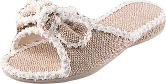 Insun Women Casual Open Toe House Slippers Flax Flats