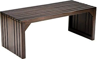 Southern Enterprises Slatted Coffee Table Bench - Solid Hardwood Construction w/ Expresso Finish - Rustic Design