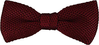 TigerTie knitwear silk bow tie in bordeaux wine red monochrome - bow tie 100% pure silk + Aufbewahrungsbox