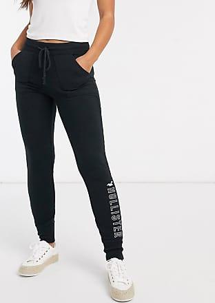 Hollister logo fleece leggings in black