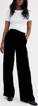 Whistles crushed velvet wide trouser-Black
