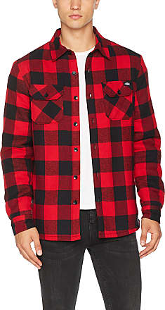 Dickies Mens Lansdale Casual Shirt, Red, XXL